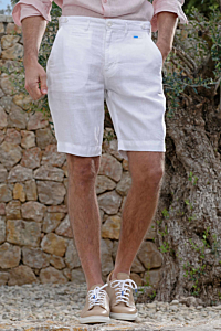 men´s white linen bermudas