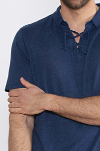 blue polo made in linen