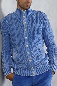 light blue cable knit