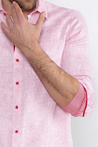 Chemise Homme à Rayures en Lin, rouge et blanche
