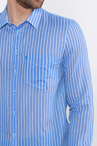 blue mens striped Cotton voile shirt