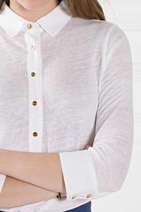 white linen polo for women