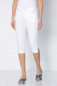 white corsaire cotton-stretch five-pocket trousers for women