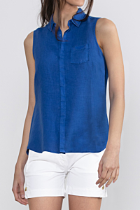 camicia lino senza maniche, azzurro