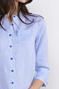 Camicia a Righe di Lino da Donna, bianco e azzurro
