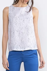women´s linen top with ESCALES pattern