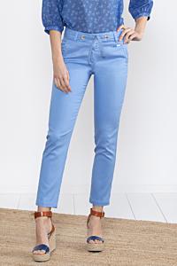 Pantalón tencel chino tobillero azul claro de mujer