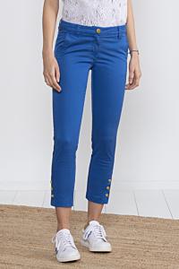 Pantaloni azzurri cigarette slim cropped alla caviglia, colore blu da Donna