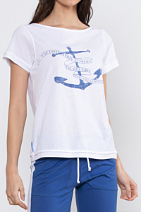 white t-shirt with an blue anchor draw