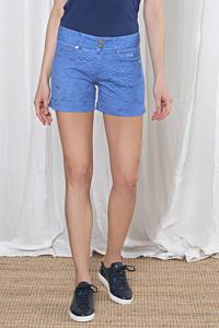 short bleu pour femme avec un imprimé effet plume