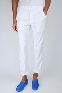 elegante pantalón en Lino Algodón color blanco