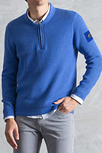 Blue Cotton-cashmere jumper for man