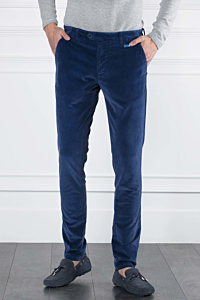 Corduroy 5-pocket trousers in Cotton-Modal and Elasthane Dark blue Man