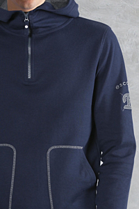 Blue cotton hoodie for man