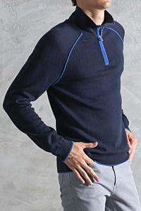 Navy Blue Zip-up Mock Neck Sweater