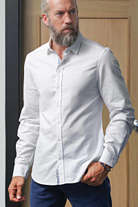 White Cotton Oxford shirt with blue details