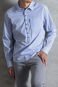 Striped shirt White and blue Man