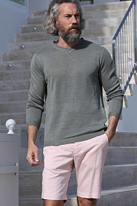 Green linen sweater men´s knitwear