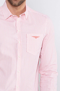 White and Orange Striped Poplin Shirt for Men