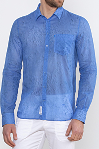blue shirt with angel feather print