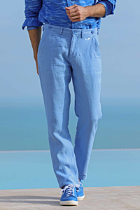 blue linen trousers mens