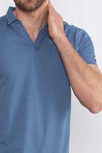 Men´s Blue Polo in Light Cotton fabric