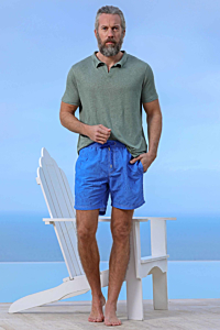 maillot de bain bleu pour homme imprimé effet plume