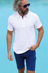 white towelling polo shirt