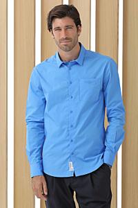 chemise popeline bleu homme