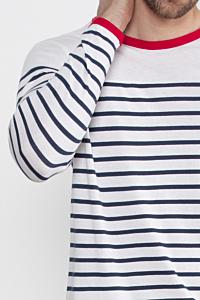 Camiseta Marinera de Algodón, Azul y Blanca, para Hombre