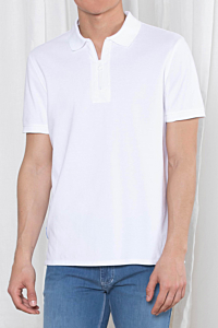 men's white zip polo