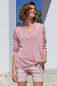 pink linen sweater