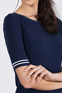 crew neck navy blue sweater for women
