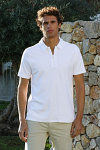 white towelling polo shirt